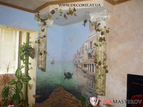Фрески роспись стен в интерьере техника