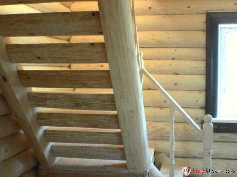 Строительство.  Деревянной лестницы в доме из бревна.  Лучшие картинки со всего интернета.